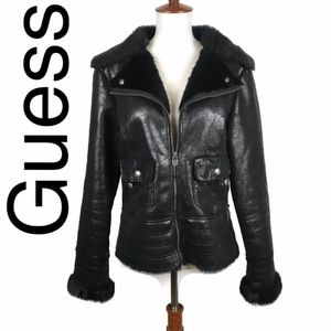 Guess faux fur lined moto jacket in black